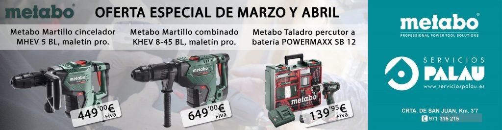 Metabo, ofertas de Marzo y Abril. 2